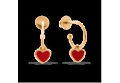Золотые cерьги пусеты (гвоздики) с эмалью