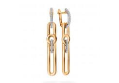 Золотые cерьги висячие с фианитом