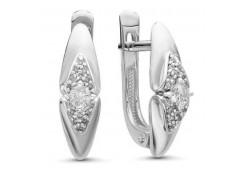 Серьги классические из белого золота с бриллиантом