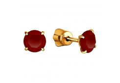 Золотые cерьги пусеты (гвоздики) с гранатом