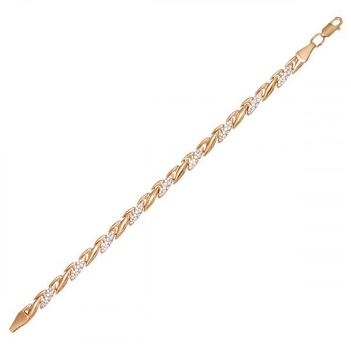 Серебряный браслет с позолотой с фианитом