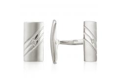 Запонки из серебра с фианитом