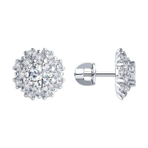 Серебряные cерьги пусеты (гвоздики) с кристаллом Сваровски