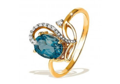 Золотое кольцо с лондон топазом