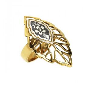 Серебряное кольцо с позолотой с чернением