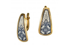 Серебряные cерьги классические с позолотой с чернением