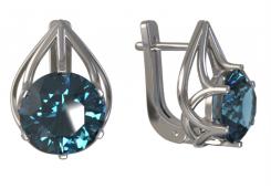 Серебряные cерьги с кристаллом