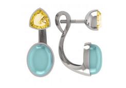 Серебряные cерьги пусеты (гвоздики) с кварцем