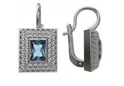 Серебряные cерьги классические с кристаллом