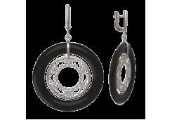 Серебряные cерьги висячие с ониксом