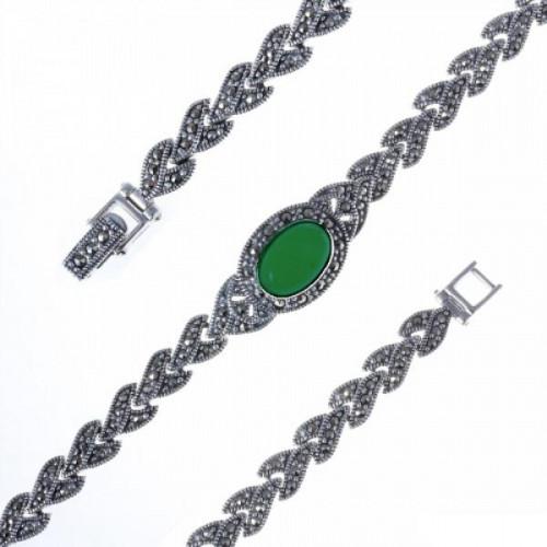 Серебряный браслет с агатом зеленым