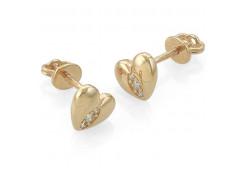 Золотые cерьги пусеты (гвоздики) с фианитом