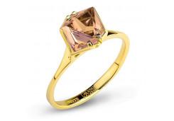 Кольцо из желтого золота с морганитом