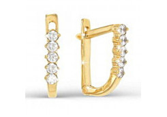 Золотые cерьги с фианитом