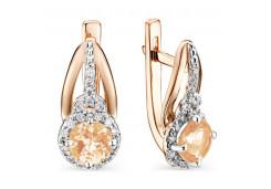 Золотые cерьги классические с кристаллом Сваровски