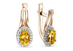 Золотые cерьги с цитрином
