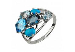 Кольцо из белого золота с полудрагоценными камнями