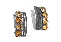 Серебряные cерьги классические с цитрином