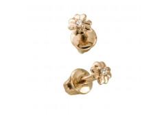 Золотая серьга пусет (гвоздик) с бриллиантом