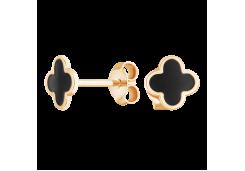 Серебряные cерьги пусеты (гвоздики) с позолотой с эмалью