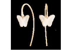 Серебряные cерьги классические с позолотой с эмалью