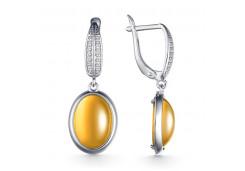 Серебряные cерьги висячие с цитрином