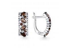 Серебряные cерьги классические с раух-топазом