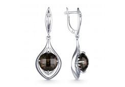 Серебряные cерьги висячие с раух-топазом