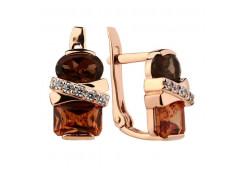 Золотые cерьги классические с полудрагоценными камнями