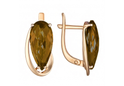 Золотые cерьги классические с кварцем