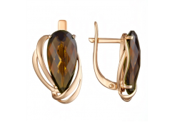 Золотые cерьги классические с султанитом