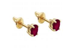 Золотые cерьги пусеты (гвоздики) с рубином