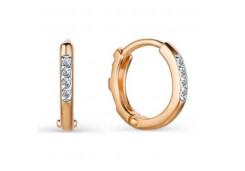 Золотые cерьги конго с бриллиантом