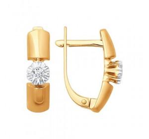 Серьги из красного золота 585 пробы с бриллиантом
