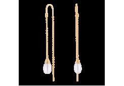 Серебряные cерьги с позолотой с жемчугом