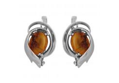 Серебряные cерьги классические с янтарем