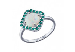 Женские кольца из серебра, вставка опал синтетический 48748