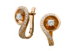 Золотые cерьги классические с бриллиантом