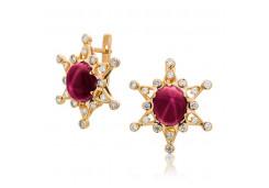 Золотые cерьги классические с рубином