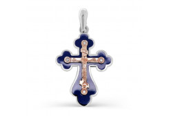 Крест из серебра с бриллиантом
