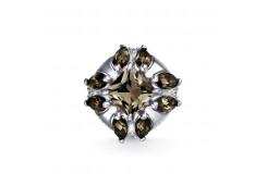 Серебряная подвеска с раух-топазом