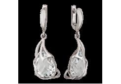 Серебряные cерьги висячие с горным хрусталем
