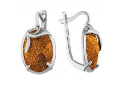 Серебряные cерьги классические с опалом