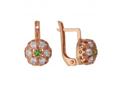 Серебряные cерьги классические с позолотой со шпинелью