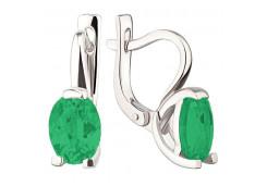 Серебряные cерьги с агатом зеленым