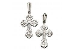 Крест из белого золота с бриллиантом