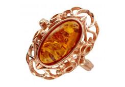 Серебряное кольцо с позолотой с янтарем
