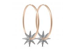 Серебряные cерьги конго с позолотой