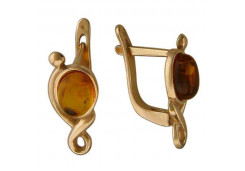 Серебряные cерьги классические с позолотой с янтарем