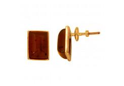 Серебряные cерьги пусеты (гвоздики) с позолотой с янтарем